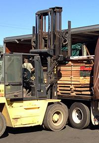 forklift loading lumber