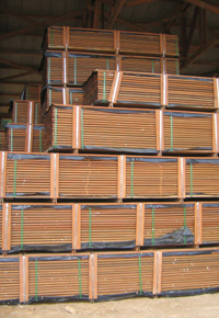 stacks of ipe decking