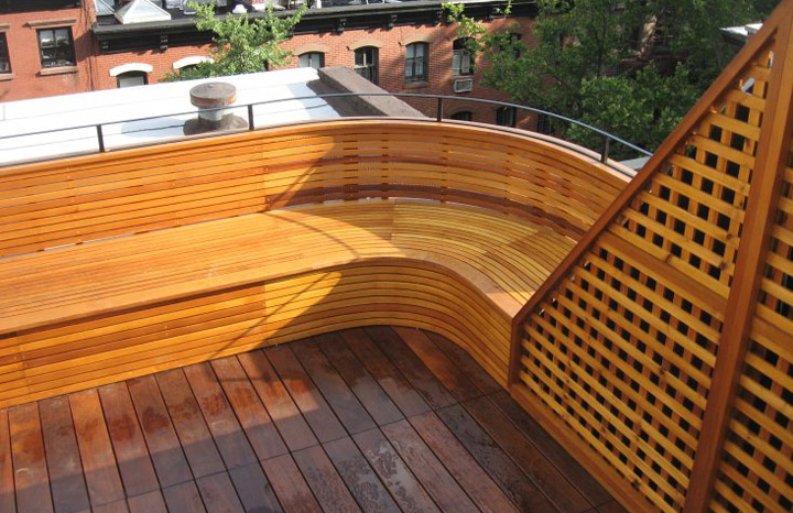 Ipe curved bench deck