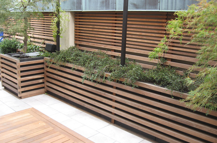 ipe recessed deck fence
