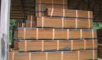 stacks of ipe wood decking