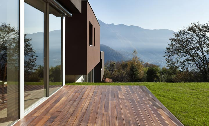 backyard deck with scenic mountains