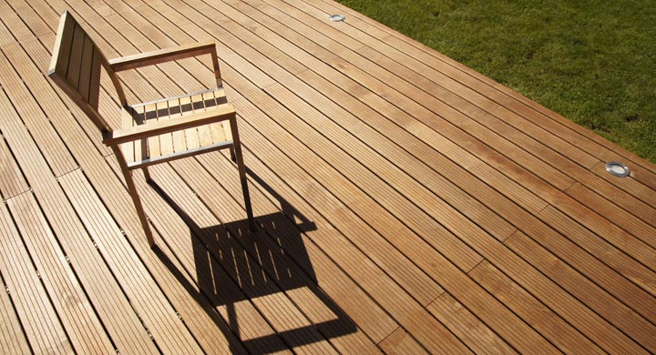 chair on backyard wood decking