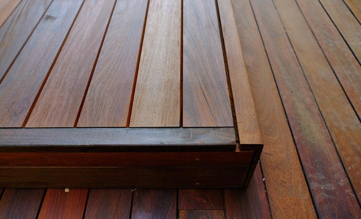wooden decking with step